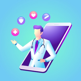 Online doctor consultation app with smartphone
