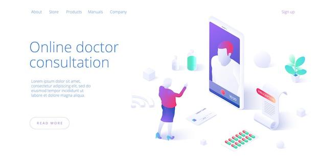 オンライン医師相談電話または訪問コンセプト。医療ビデオチャットのためにスマートフォンでインターネットを使用している女性。