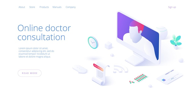Online doctor consultation call or visit concept in isometric vector design. woman using internet on pc for medical video chat. healthcare conference. web banner layout template.