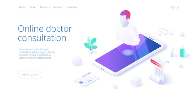 Online doctor consultation call or visit concept in isometric