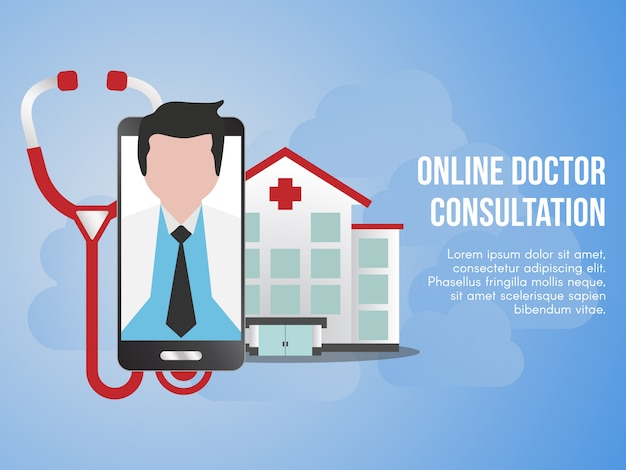 Online doctor consultation concept illustration design template