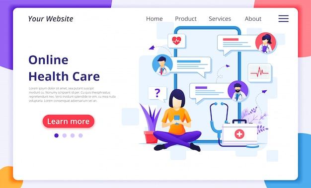 Онлайн концепция консультации доктора, онлайн иллюстрация медицинской помощи здравоохранения. шаблон оформления целевой страницы сайта