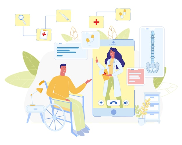 Online doctor consultation for disabled cartoon