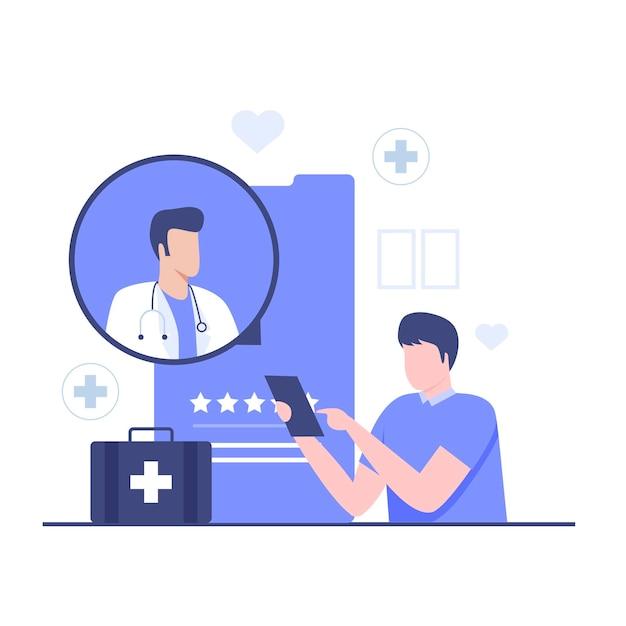 온라인 의사 상담 일러스트레이션 디자인 컨셉입니다. 웹사이트, 방문 페이지, 모바일 애플리케이션, 포스터 및 배너용 일러스트레이션