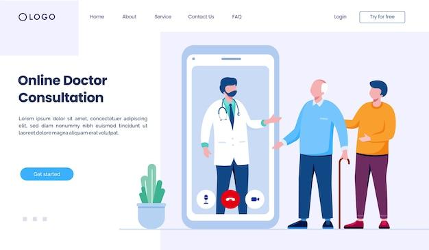 Шаблон иллюстрации веб-сайта целевой страницы онлайн-консультации врача