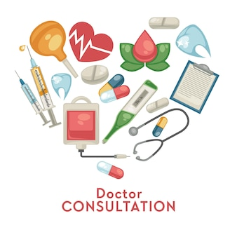 온라인 의사 상담 의학 및 치료 의료 약 및 의료 도구 약국 벡터