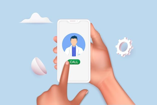 온라인 의사 상담. 휴대 전화로 의사와 화상 채팅을 하는 사람.