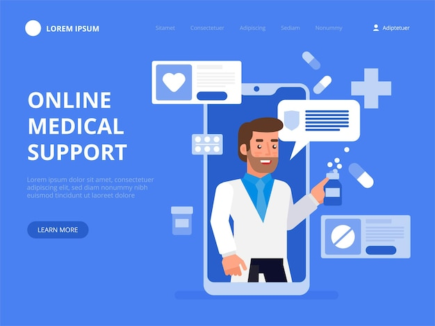 Online doctor consultation on screen