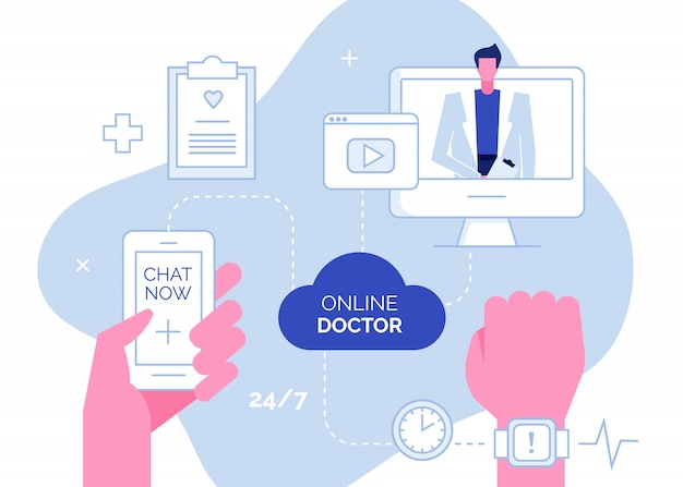 Online doctor consultation support concept
