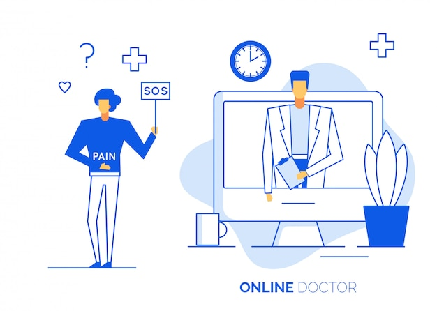 Online doctor consultation technology on laptop