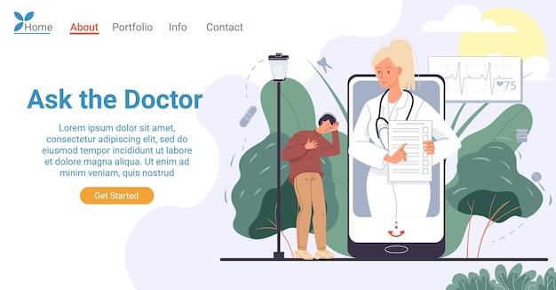 Консультация врача онлайн через целевую страницу мобильного телефона. концепция мобильных медицинских услуг. больной пациент, страдающий от ужасной головной боли, встречается со специалистом онлайн, получает консультацию