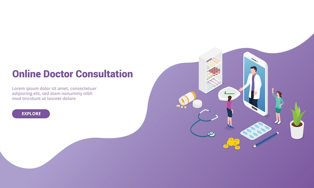 Online doctor consultation for website template or landing homepage with isometric modern style