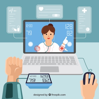 Online doctor design with hands using laptop