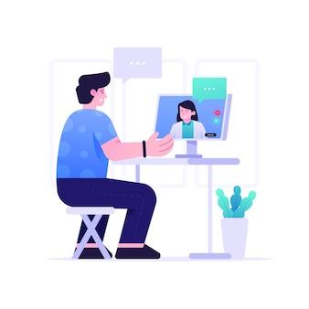 Интернет-врач плоский дизайн