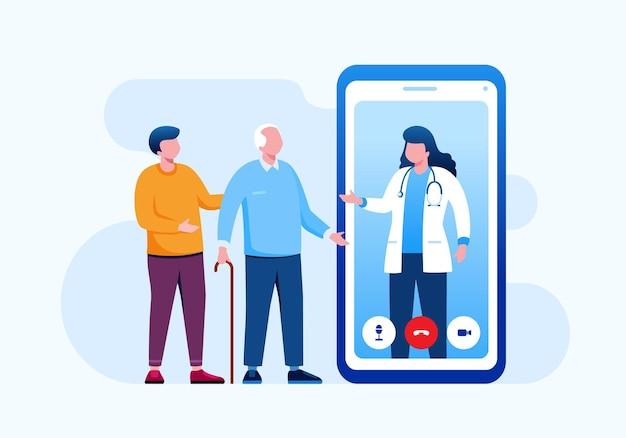 Интернет-врач плоская векторная иллюстрация для баннера