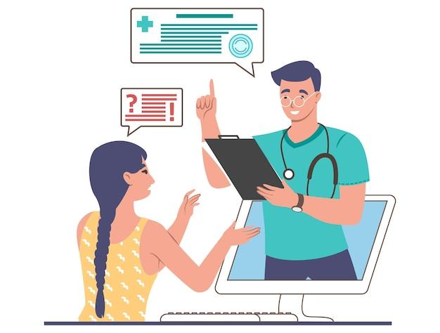 コンピューター画面、フラットベクトルイラストから患者の女性を助けるオンライン医師。遠隔医療相談、遠隔医療。