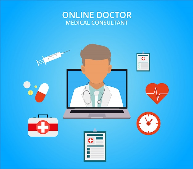 Online doctor, internet computer health service, medical consultation vector concept. online medical consultation and support, illustration of medical service.