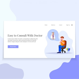 Online doctor landing page ui design illustration