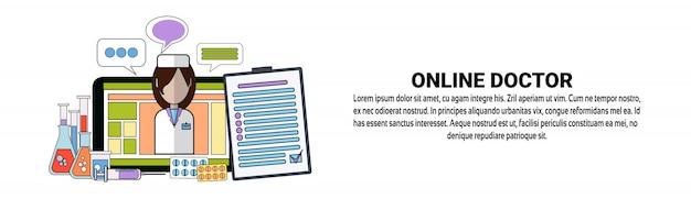 Online doctor medical mobile app concept horizontal banner template