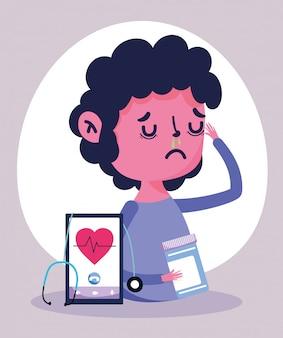 オンラインの医師、患者のスマートフォンの薬瓶メディカルcovid 19