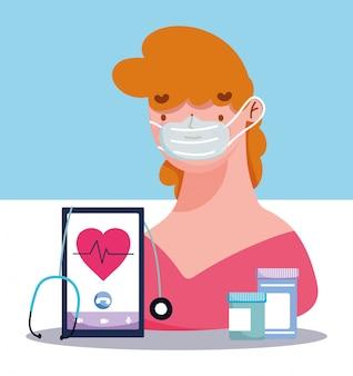 Online doctor, patient smartphone medicine pills stethoscope covid 19