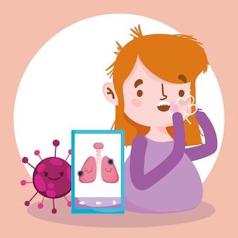 オンラインの医師、咳をした患者とスマートフォンcovid 19