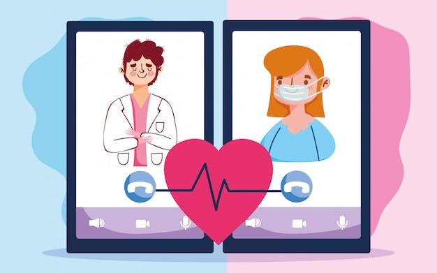 オンラインの医師、医師、患者の相談用スマートフォンデバイスcovid 19