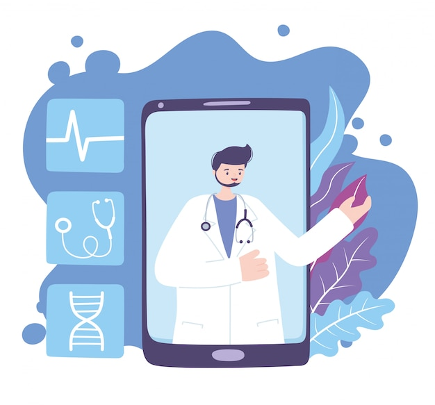 Online doctor, physician with stethoscope in video smartphone medical advice or consultation service