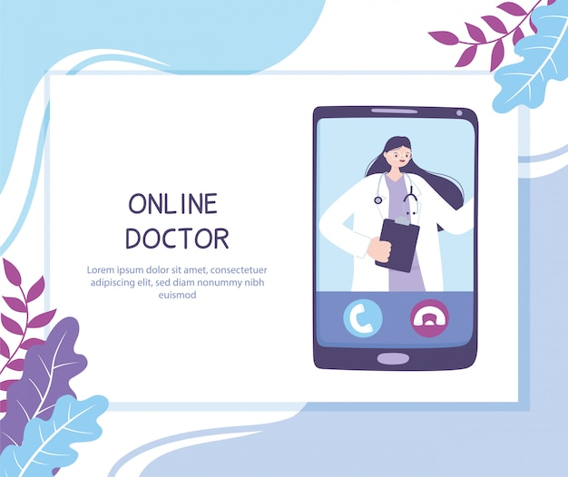 Online doctor, practitioner video calling on a smartphone, medical advice or consultation service