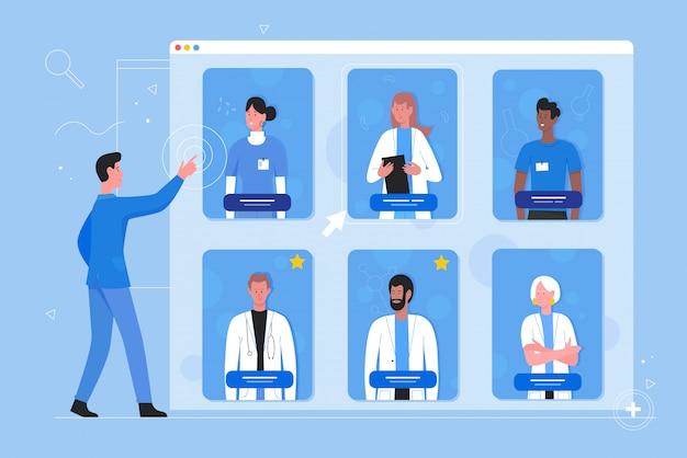 Иллюстрация записи на прием к врачу онлайн. мультяшный плоский мужчина-пациент выбирает персонажа, ищите специалиста для консультации по лечению доктора. фон концепции современной онлайн-медицины