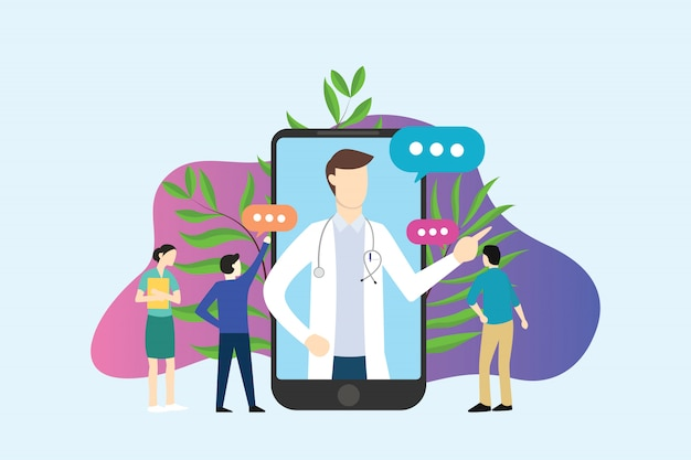 Online doctor service apps on smartphone people discussion