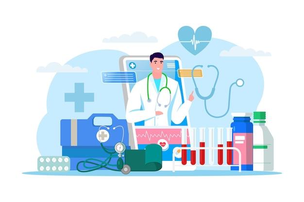 온라인 의사 서비스, 벡터 일러스트 레이 션입니다. 스마트폰의 클리닉 의료, 남자 의사 캐릭터가 있는 모바일 애플리케이션. 환자와의 의사 소통, 약국 처방전.