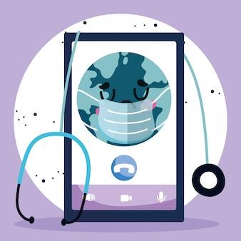 オンラインドクター、マスクの聴診器の医療covid 19とスマートフォンの世界