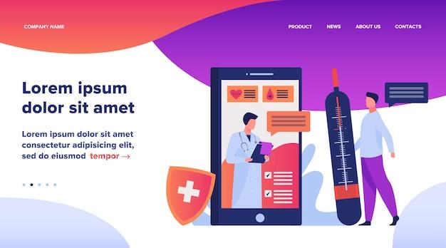 スマートフォンのベクトル図を介してオンライン医師サポート。医師や看護師とモバイル医療支援チャット。ウェブサイトのデザインのための医療、ヘルスケア、および薬学のコンセプト
