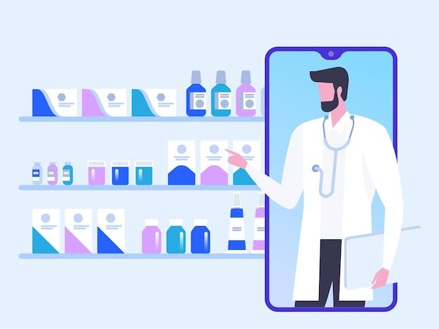 온라인 닥터. 원격 진료. 의사와 인터넷으로 의료 상담. 의학 및 건강 관리 개념. 의료 온라인 서비스.