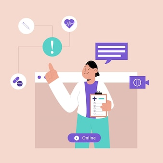 Online doctor on video call or teleconference concept