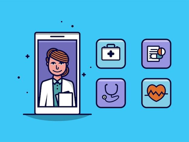 가상 상담 및 의료 개념을 갖춘 스마트폰으로 온라인 의사 화상 통화