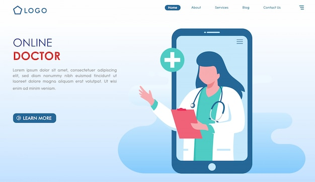 Online doctor website landing page in flat style