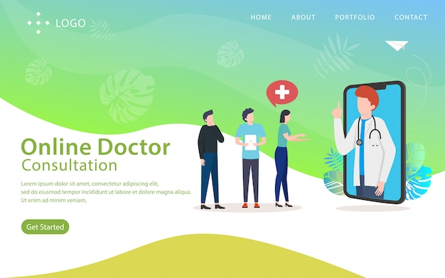 Online doctor, website vector illustration