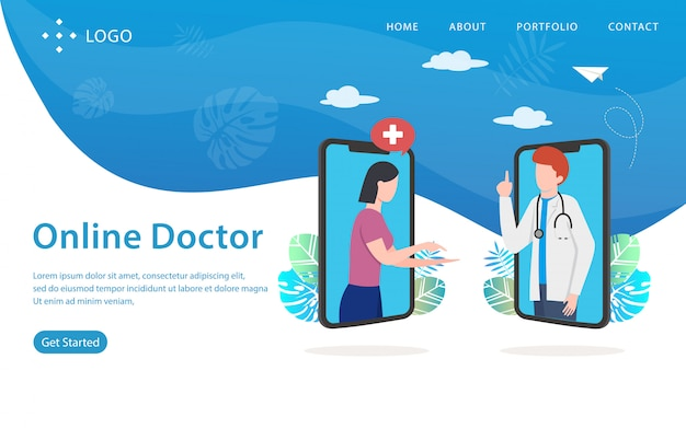 Online doctor, website vector illustration