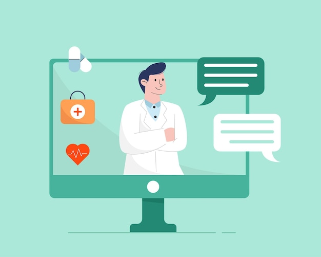 Интернет-врач с компьютером