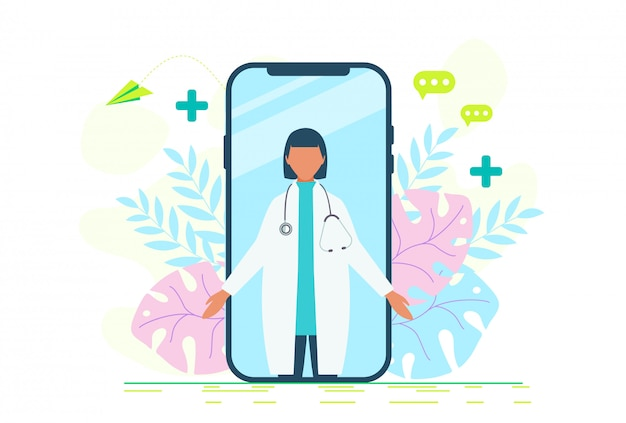 Онлайн доктор женщин здравоохранения концепции значок набор. доктор видеозвонок на смартфон. онлайн медицинские услуги, медицинская консультация. онлайн доктор женщин здравоохранения концепции значок набор.