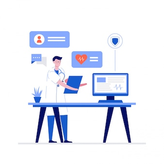 Online doctor at work  illustration concept with characters.