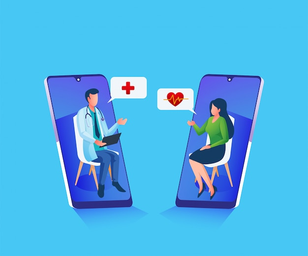 Online doctors consultation giving advice and help illustration