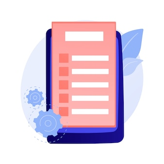 オンラインドキュメントフォーム。デジタル契約、電子契約、インターネットアンケート。リストを行うには、注意してください。投票投票、投票フラットデザイン要素の概念図