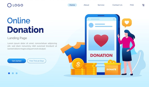 온라인 기부 방문 페이지 웹 사이트 일러스트 템플릿