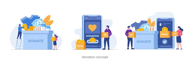 オンライン寄付参加またはチャリティーの概念、フラットベクトルイラスト
