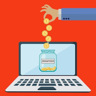 オンライン寄付のjarベクトルのコンセプト