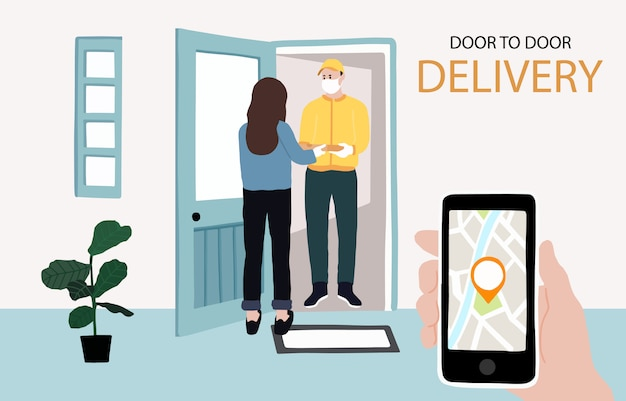 Online door to door delivery contactless service to home,office. delivery man is waring mark to prevent coronavirus