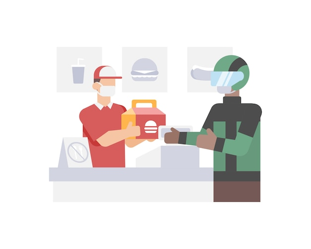 Online driver buy and delivery burger from fast food restaurant to customer house illustration